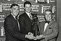 Mayor Raymond L. Flynn, Roger Clemens and unidentified man (9504748074).jpg