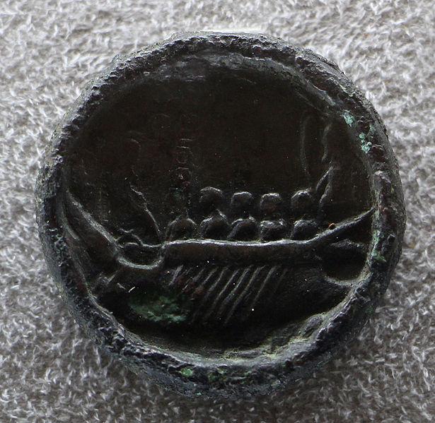File:Medaglione di costantinpoli, 300-350 dc ca, verso con nave con vittoria sulla prua.JPG