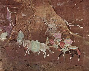 Emperor Xuanzong of Tang - A Tributary Horse for Emperor Xuanzong, painted in the 12th century during the subsequent Song dynasty
