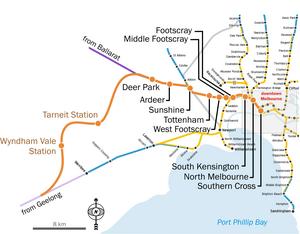 Regional Rail Link - Route of the Regional Rail Link in orange