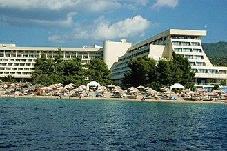 Porto Carras - View of Meliton Hotel.