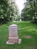 Memorial avenue marker at Delville Wood