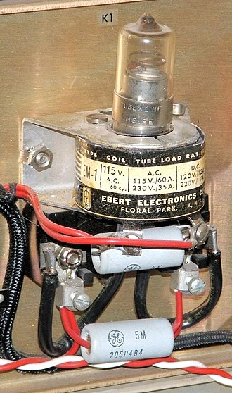 Mercury relay - Normally open mercury relay, with coil around bottom of tube