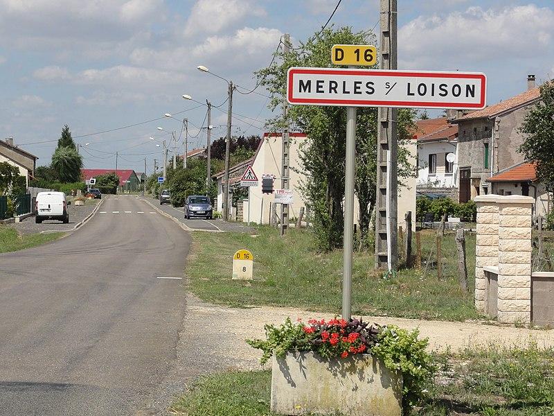 Merles-sur-Loison (Meuse) city limit sign