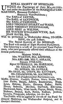 Messiah handel wikipedia 1787 advertisement for messiah at westminster abbey with 800 performers solutioingenieria Images