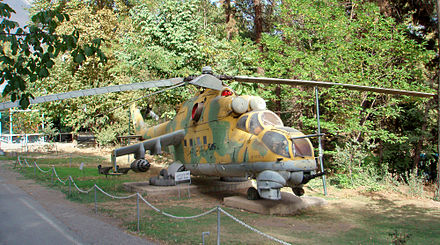 An Iraqi Mil Mi-24 on display at the military museum of Sa'dabad Palace in Iran Mi24 tehran.jpg