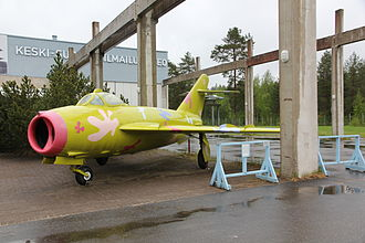 Mikoyan-Gurevich MiG-17 - MiG-17 at the Aviation Museum of Central Finland in Jyväskylä. The paintscheme is from 2006 and is based on the idea of Luonetjärvi primary school student Anni Lundahl.