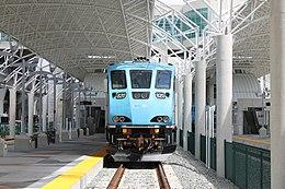 Miami Airport train station Tri-Rail BL36PH 2015-04 front.jpg