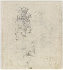 Studies of a Horse with Two Nude Riders and a Male Torso