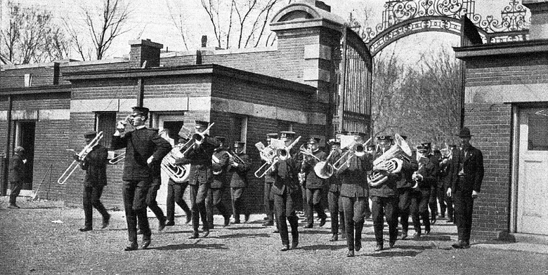 The 1920 Michigan Marching Band from the Michiganensian yearbook 1921.