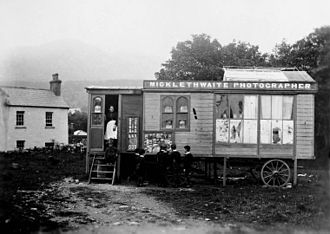 Collodion process - A portable photography studio in 19th century Ireland. The wet collodion process sometimes gave rise to portable darkrooms, as photographic images needed to be developed while the plate was still wet.
