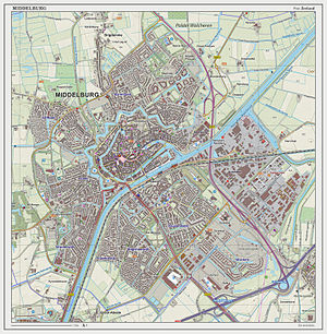 Middelburg - Topographic map of Middelburg, as of September 2014