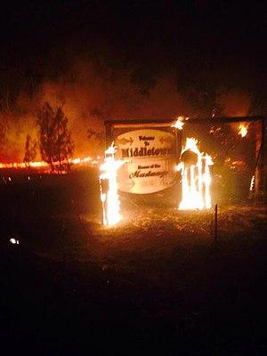 Valley Fire - Middletown sign burning on September 13