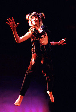 Vince Cardinale as Puck from the Carmel Shakespeare Festival production of A Midsummer Night's Dream, September 2000 MidsummerPuckFlying.jpg