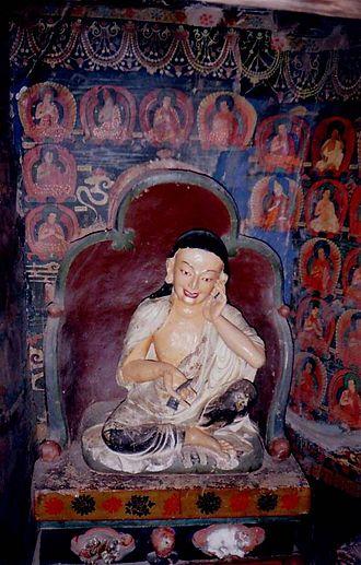 Milarepa - Milarepa statue, Pango Chorten, Gyantse, Tibet.
