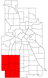 Location of Southwest within the U.S. city of Minneapolis