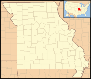 Watkins Woolen Mill State Park and State Historic Site - Image: Missouri Locator Map with US