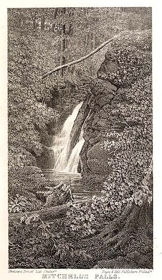 Mitchell Falls - Image of Mitchell Falls from 1859 book