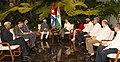 Mohd. Hamid Ansari calls on the President of Cuba, Mr. Raul Castro, in Havana, Cuba on October 30, 2013. The Minister of State for Human Resource Development, Shri Jitin Prasada and other dignitaries are also seen.jpg