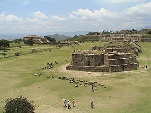 Mesoamerican chronology - Central Plaza of Monte Albán, a city constructed on a hill that dominates the Central Valley of Oaxaca