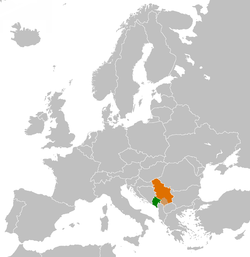 Map indicating locations of Montenegro and Serbia