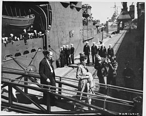 Charles W. Sawyer - Image: Mrs. Charles Sawyer, wife of the U. S. Ambassador to Belgium, leaves the U. S. S. Augusta after paying her respects... NARA 198790