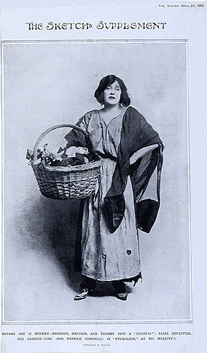 Pygmalion (play) - A Sketch Magazine illustration of Mrs. Patrick Campbell As Eliza Doolittle from 22 April 1914. Shaw wrote the part of Eliza expressly for Campbell who played opposite Herbert Beerbohm Tree as Henry Higgins.