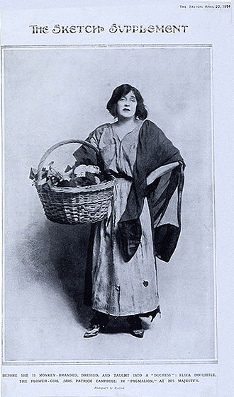 Pygmalion (play) - A Sketch Magazine illustration of Mrs. Patrick Campbell as Eliza Doolittle from 22 April 1914. Shaw wrote the part of Eliza expressly for Campbell, who played opposite Herbert Beerbohm Tree as Henry Higgins.