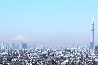 Tokyo Skytree - Mount Fuji and the tree, seen from Chiba