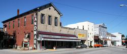 Storefronts along Jackson Street in downtown Mulberry