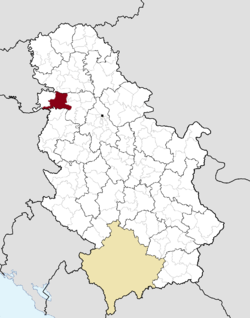 Location of the city of Sremska Mitrovica within Serbia