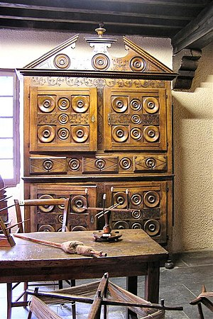 Wardrobe - Intricately carved French Oakley style tallboy with under-cabinet instead of a chest of drawers