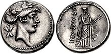 Muse Euterpe, Denarius, 56 B.C., Rome.jpg