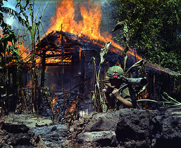 Vietcong basecamp being burned down. My Tho, Vietnam.