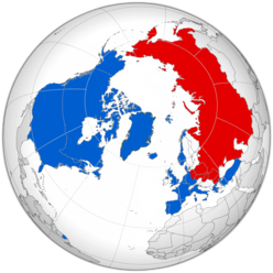 Borders of NATO (blue) and Warsaw Pact (red) states during the Cold War-era.