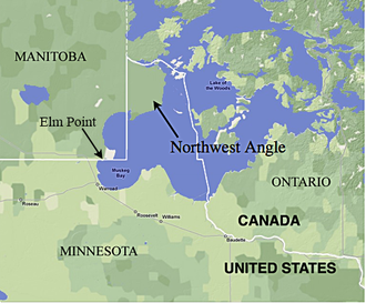 Northwest Angle - The Northwest Angle in Minnesota, bordering Manitoba, Ontario, and Lake of the Woods