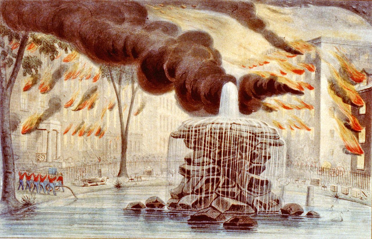 Великий пожар 1845 года,<br/> вид от Боулинг-Грин. <br/><i>Зарисовка Н. Карьира, хранится в<br/> Библиотеке Конгресса США</i>