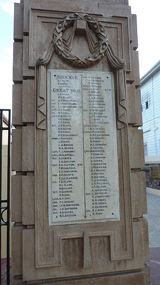 Gympie and Widgee War Memorial Gates - Names of the fallen in the Boer War and World War I (left-hand side), 2015