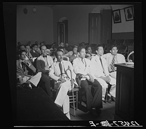 Ponce massacre - Defendants during the trial of the Nationalists at the former Spanish Army barracks in Ponce, Puerto Rico (December 1937).