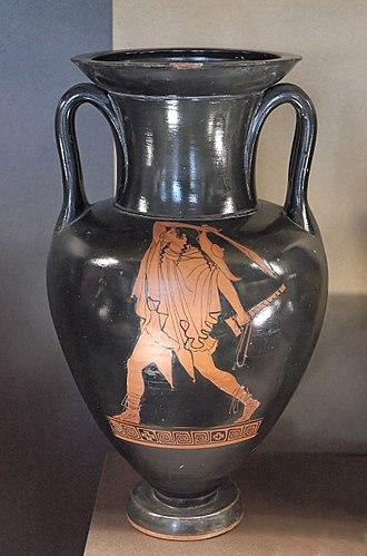 Makhaira - A man wielding a makhaira. Red figure amphora c. 460BC