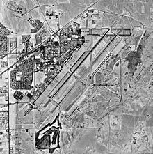 A black-and-white aerial map depicting an air force base