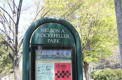 Nelson A. Rockefeller Park is an enclave within Battery Park City in New York City. Nelson Rockefeller Park sign, NYC IMG 5810.JPG