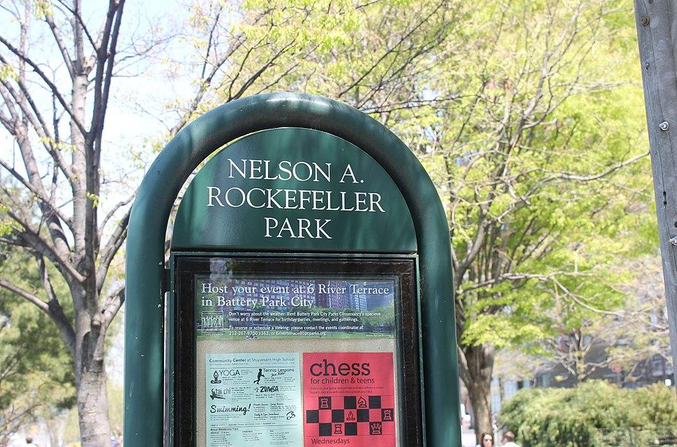 Nelson Rockefeller Park sign, NYC IMG 5810