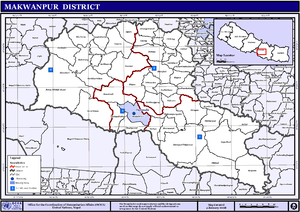 Makwanpur District - Map of the VDCs and Municipalities (blue) in Makwanpur District