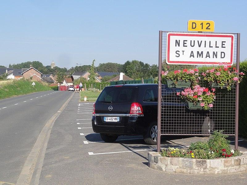 Neuville-Saint-Amand (Aisne) city limit sign