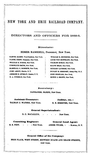 Charles Moran (railroad executive) - Listing of Erie directors and officers, 1855-56