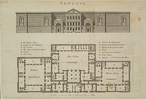 Ruth Bowyer - A plan of Newgate Prison, where Bowyer was confined after her arrest. Source: Original in the Crace Collection at the British Library.