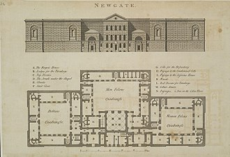 Newgate Prison - Elevation and plan of Newgate Prison published in 1800