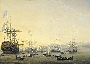 HMS Queen Charlotte (1810) - Image: Nicolaas Baur Krijgsraad aan boord van de 'Queen Charlotte'