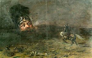 Ruslan and Ludmila - Ruslan confronts the head, by Nikolai Ge